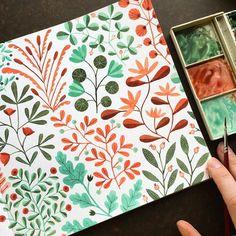 Beautiful watercolour pattern by Kirsten Sevig . #Illustratorinminneapolis #watercolor #painting #patterns #makingitupasigo #handbookwatercolorjournal #illustration #folkart #folksy #floral #flowers #flower #scandinavian
