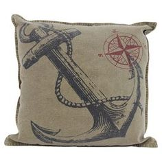 """Pillow with piped edging and an anchor motif.  Product: PillowConstruction Material: CanvasColor: Tan, gray, and pinkFeatures: Insert includedDimensions: 19.7"""" x 19.7"""""""