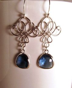 navy scroll earrings