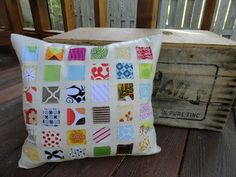 Love this pillow.  Fun way to use up scraps!
