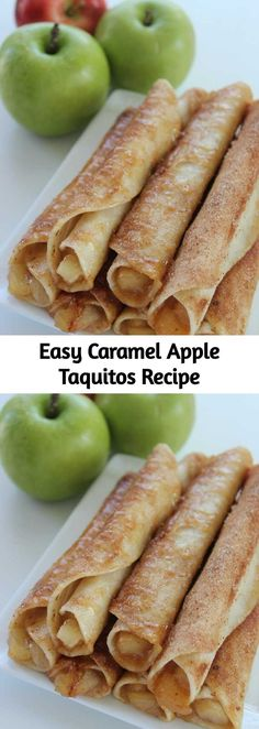 These Caramel Apple Taquitos taste delicious look delicious and are so easy to make. Plus theyre kid friendly making them that much more amazing! Apple Recipes, Fall Recipes, Ground Beef Taquitos Recipe, Mexican Food Recipes, Dessert Recipes, Appetizer Recipes, Breakfast Recipes, Appetizers, Delicious Desserts