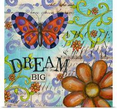 Lisa Kaus Solid-Faced Canvas Print Wall Art Print entitled Inspiration Garden - Butterfly Dream, None Canvas Wall Art, Wall Art Prints, Poster Prints, Canvas Prints, Art Journal Pages, Junk Journal, Art Journaling, Journal Ideas, Butterfly Art