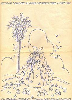 Crinoline Lady in Garden ~ Vintage 1930s 40s Weldons Embroidery Transfer ~ 18