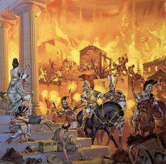 | Distruzione di Tebe da parte di Alessandro Magno (334 aC) [by Angus McBride]