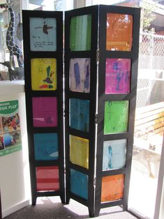 Great portable room divider with children's art.  Could also decorate with anchor charts.  Use between small groups - wonder if cork tiles would help with acoustics and also give you a surface to thumbtack your artwork or charts.  Could store in the back corner of the room when not in use.  Much sturdier than the PVC screen I was contemplating and takes up less floor space.