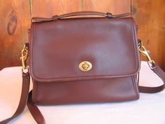 Brown Leather Coach Court Bag Handbag Shoulder Cross Body Uni Messenger Vintage 1980 S Made In Usa Near Mint Condition