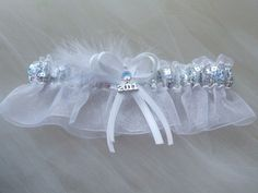 Prom Garter With 2013 charm silver sequences over white organza ...