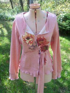 Reconstructed Sweatshirt Kimono Wrap M by RebeccasArtCloset