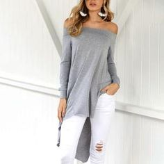 38ce678d78bef7 Sexy Off-The-Shoulder Collar With Irregular Hem T-Shirts