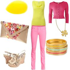 yellow pink :^), created by nicstormon on Polyvore
