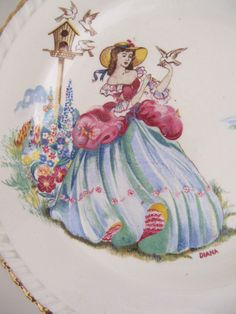 X6 BEAUTFUL VINTAGE STAFFS TEASET & CO LTD PRETTY CRINOLINE LADY TEA SIDE PLATES