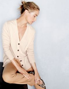 J.Crew women's classic V-neck cardigan sweater, Campbell trouser and Collection Colette calf hair d'Orsay pumps.