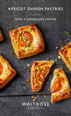 Golden and crisp, these Danish pastries are filled with a creamy cheesecake centre and topped with roasted apricots and crunchy pistachios. Tap for the full Waitrose & Partners recipe. Danish Food, Danish Pastries, Sweet Pastries, Fruit Recipes, Sweet Recipes, Dessert Recipes, Pastry Recipes, Baking Recipes, Strudel