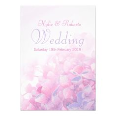 Hydrangea floral pink purple wedding invitation. Photograph, treatment and design by www.sarahtrett.com
