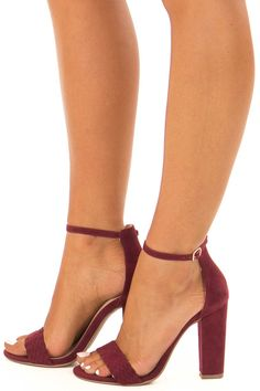 59cdd5fc73 Merlot Faux Braided Velvet Sandal High Heels with Ankle Strap side view  High Heels For Prom