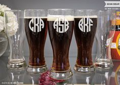 Personalized Groomsmen - Custom Engraved Hour Glass Beer Pilsner - Beer Glass - Wedding Gift - Monogrammed Gift by LetsTieTheKnot