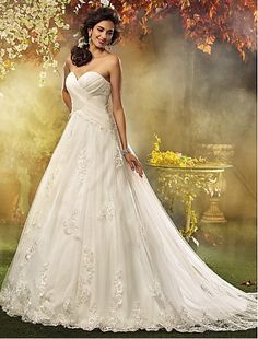 Directsale Plus Size Wedding Dress A Line Court Train Tulle Sweetheart Bridal Gown With Appliques Free Measurement