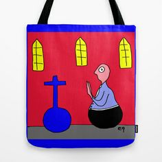 'Roly Poly Religion' Tote Bag by e9Art (Church Cartoon Humor Worship Prayer Cross Christ Satire Outsider Self-Taught Artist Whimsical Odd Accent Theme Motif Accessory)