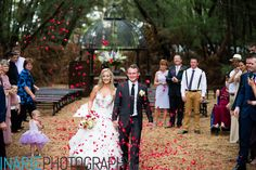 Bride and groom showered with rose petal confetti, Dec Inarie Photography @ Galagos Bush Chapel. Rose Petal Confetti, Rose Petals, Country Estate, Got Married, Our Wedding, Groom, Wedding Inspiration, Table Decorations, Bride