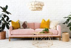 Pink Living Room Furniture, Living Room Sofa, Living Room Decor, Living Area, Living Rooms, Bedroom Couch, Pink Velvet Couch, Pink Couch, Sofa Design
