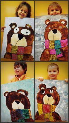 Kids art projects and Elementary art projects Winter Art Projects, School Art Projects, Arts And Crafts Projects, Kindergarten Art Lessons, Art Lessons Elementary, Winter Art Kindergarten, Art 2nd Grade, Art D'ours, Fun Art