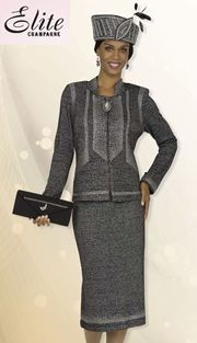 EC4869,Elite Champagne Ladies Church Suits Fall And Holiday 2016