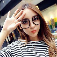 ac0f3df71fc Retro oversized Korea eyeglasses frame high fashion men plain glass Optical  glasses women brand Designer 2015 UV400 Myopia frame