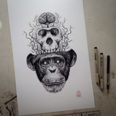 "I love monkeys - there i said it.Im gonna do loads of these drawings so get used to it!!11"" by 17"" in size - each print is embossed, signed and finger printed.Its digitally printed on white linen paper.*IF YOU WANT ITEMS TRACKED (ITS EXPENSIVE), MESSAGE ME DIRECT, OTHERWISE EVERYTHING IS SENT STANDARD MAIL WHICH YOU WILL NEED TO ALLOW 30 DAYS DELIVERY (USUALLY QUICKER THAN THAT)*"