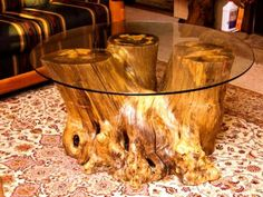 Reception table? coffee table made from tree trunk