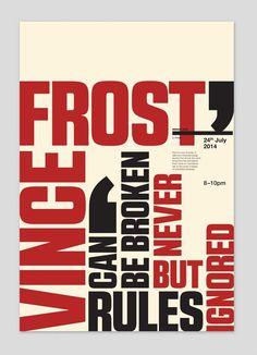 Design Event Poster for Vince Frost. Parking Design, Typography, Lettering, Communication Design, Frost, Graphic Design, Poster, Magazines, Catalog