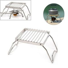 Baffect Folding Barbecue Grill Rack Portable Grill Tools Campact Camping Grill Mini Pocket BBQ Grill Rack Universal Barbecue Warming Rack for Fire Bowl Travel,Camping,Hiking,Festivals-Chrome