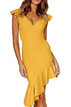 47a4b6a0247 QINSEN Slim Fit Dress Sexy Ruffle Sleevess Open Back Fishtail Bodycon Party Midi  Dress Yellow S