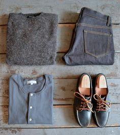 Howlin' - Birth of Cool Mercury Sweater Imogene and Willie - Barton Slim Denim Merz b. Schwanen - Navy Short Sleeve Henley Oak Street Bootmakers - Navy Trail Oxford