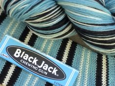 """It's gone for now, but not forgotten.......""""Black Jack Chewing Gum"""" self striping sock yarn!460 ..."""