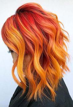 Orange hair color shades: orange hair dye tips. Dramatic Hair Colors, Vivid Hair Color, Hair Color Shades, Hair Color Dark, Hair Color Highlights, Hair Color Balayage, Orange Highlights, Orange Hair Dye, Cheveux Oranges