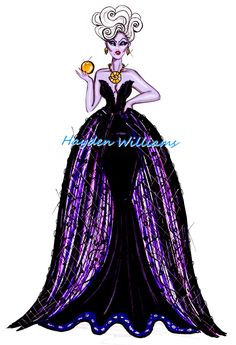 Hayden Williams Fashion Illustrations: The Disney Diva Villainess collection by Hayden Williams: Ursula