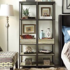 Decorate your home with this rustic style media tower with wood shelves finished… Metal Bookcase, Modern Bookshelf, Wood Crate Shelves, Hill Country Homes, Rustic Industrial, Furniture Deals, Living Room Furniture, Living Rooms, Decorating Your Home
