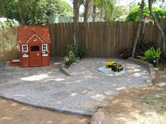 The backyard play area is coming along...taking inspiration from other pinners and a trip to the Tucson Botanical Gardens, utilizing and repurposing found items, lots of muscle and working with our sloped, rocky yard...