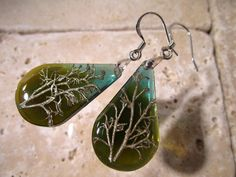 Reindeer Lichen Teardrop Resin Earrings Moss Jewelry by Chaerea