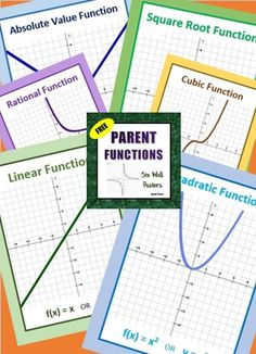 FREE POSTERS  Linear, Quadratic, Cubic, Absolute Value, Rational, and Square Root parent functions.