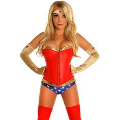 Sexy Superhero Womens Corset and Booty Shorts ($65) ❤ liked on Polyvore featuring costumes, halloween costumes, multicolor, sexy costumes, sexy superhero costumes, adult halloween costumes, star costume and sexy adult costumes