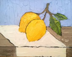ORIGINAL 8x10 YELLOW LEMONS Oil Painting by lynnefrenchdesigns, $45.00