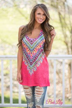 Our bestselling Kaleidoscope Dreams Tanks are back! You'll stand out this summer in this bold, vibrant tank! Featuring a variety of neon colors, these tanks have a racerback and a deep scoopneck. The lightweight material is perfect for the warmest of summer days.