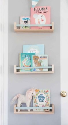 Ikea BEKVAM spice rack as book shelf with painted bar Ellie James' Nursery