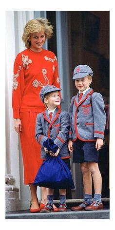 Princess of Wales, Prince William of Wales, later Duke of Cambridge and Prince Henry (Harry) of Wales.
