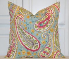BOTH SIDES - Decorative Pillow Cover - Floral Paisley - Turquoise - Aqua - Pink - Green - Bed Pillow