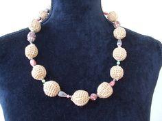 Collane corte - collana uncinetto cotone donna corta - un prodotto unico di dorazimorena su DaWanda