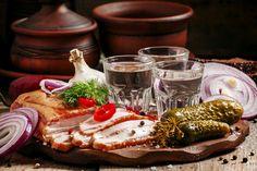 Still-life Vodka Cucumbers Onion Salo - Food Shot glass Food