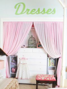 Another pinner said: Get rid of the closet doors and replace them with curtains.  We did this in the kids rooms and the playroom because they had ugly old sliding doors. It not only looks great but its easy for the kids to get in and out of the closet. Really opens up the room as well!