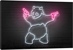Neon-Leuchtkraft-Reihe: Panda With Guns Leinwand-Kunstdruck Smoke Wallpaper, Neon Wallpaper, Canvas Artwork, Canvas Art Prints, Tinta Neon, Pop Art, Neon Aesthetic, Neon Lighting, My New Room